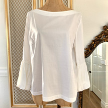 Pre-owned Laundry By Shelli Segal Puff Sleeve Poplin Blouse (10)