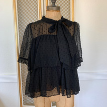 Zara DOTTED MESH TOP WITH BOW DETAIL Black