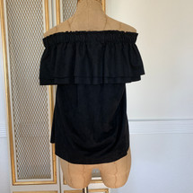 Pre-owned Young Fabulous & Broke Suede Off the Shoulder Ruffle Top Black (L)