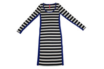 Eight Sixty Scoop Neck Striped Panel Dress