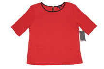 Ella Moss Red Back Zip Ponte Top
