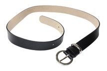 Streets Ahead Classic Black Italian Leather Belt With Silver Buckle And Silver Leather Loop Detail USA Made