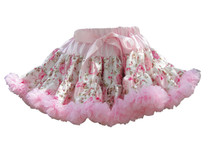 V Flourish Floral with Light Pink Ruffles Petti Skirt