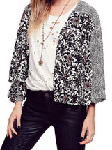 Free People Printed Balloon Sleeve Soft Jacket Ivory