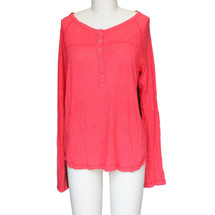 Splendid Women's Coral Long Sleeve Henley Tee Coral Orange (L)