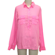 J.Crew Pink Pullover Button-up Neon Button Down Shirt Size: P8