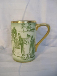 AN EQUESTRIAN THEMED ANTIQUE RIDGWAY MUG