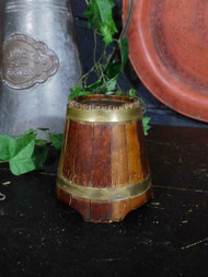 ANTIQUE BESPOKE MADE COOPERED WOOD MONEY BOX