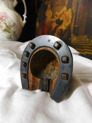 ANTIQUE HORSESHOE SHAPED ASH TRAY OR DESK TOP ACCESSORY