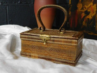 ARTS & CRAFTS STYLE ANTIQUE STRAW WORK JEWELLERY BOX