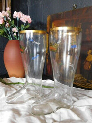 PAIR OF LARGE ANTIQUE GLASS BOOT DRINKING GLASSES