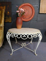 ANTIQUE IRON AND MARBLE EFFECT TABLE