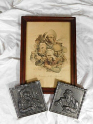 LOUIS BOILLY SIGNED LITHOGRAPH PRINT with metal PLAQUES