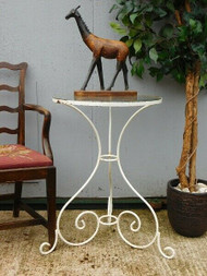 RUSTIC WHITE PAINTED METAL SIDE OR LAMP TABLE