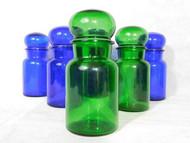 VINTAGE GREEN AND BLUE GLASS CHEMIST OR STORAGE JARS