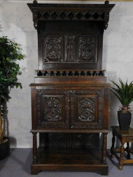 ANTIQUE CARVED OAK GOTHIC INFLUENCED BUFFET CABINET