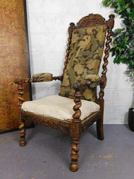 ANTIQUE CARVED OAK THRONE OR STATEMENT CHAIR