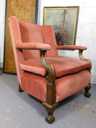 AMPLE SIZED ANTIQUE ARMCHAIR - IDEAL RE-UPHOLSTERY