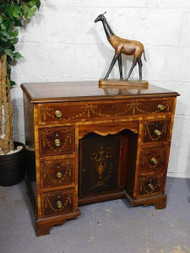 ANTIQUE INLAID MAHOGANY KNEEHOLE DESK OR DRESSING TABLE