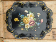ANTIQUE PAINTED METAL TRAY WALL HANGING