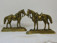PAIR OF ANTIQUE BRASS HORSE CHIMNEY ORNAMENTS