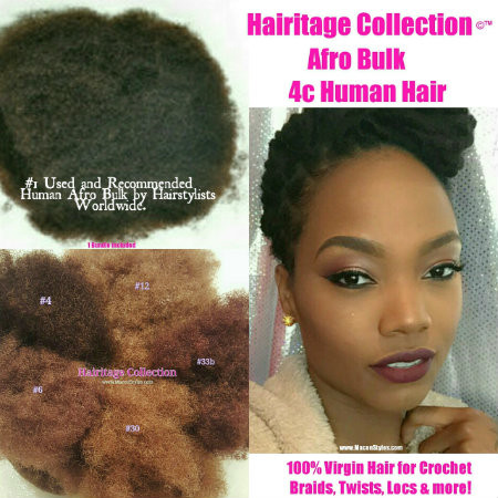 3 Packs of Hairitage Afro bundles were used to achieve a full head of 5 inch permanent Loc Extensions.