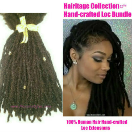 Hairitage Loc Bundles pre-made and installed on natural hair. *Please click product description link for additional info on how many loc bundles you should order *