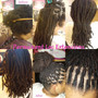 16 inch extensions installed on natural hair. Loc Quantity= 84 Loc Size= .5cm