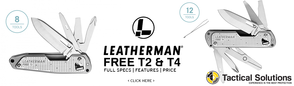 Image link to Leatherman Free T2 and T4 specifications pricing and features and tools