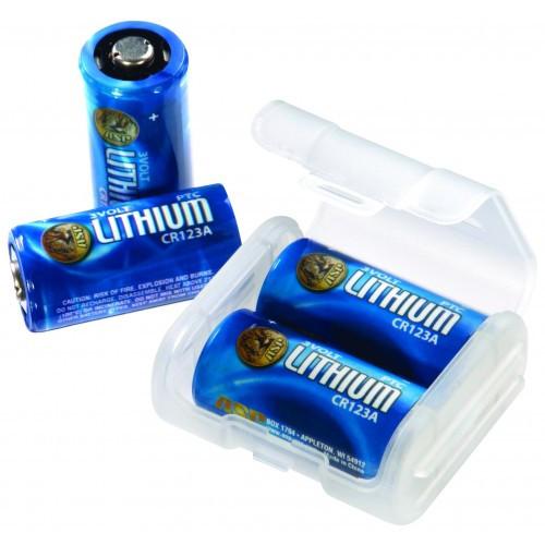 ASP CR123A 3V Lithium Battery 4 Pack + Link Case