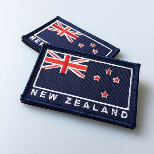 Embroidered New Zealand Flag Patch w/Velcro Backing Original