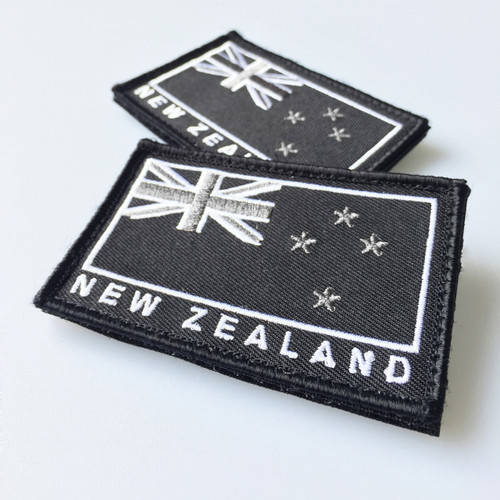 Embroidered New Zealand Flag Patch w/Velcro Backing Grey