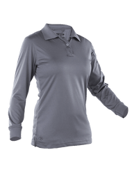 Women's L/S Performance Polo, Charcoal Grey (TSP-4484)