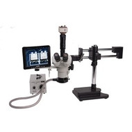"26800B-110 , Aven Tools , VIS-750, SPZT-50 Stereo Zoom Microscope mounted on Dual Arm Stand with VGA 2M Color Camera, 8"" Color Monitor, Flourescent Illumination"