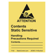 CAUTION LABEL, DESTRUCTIBLE, 1.8IN x2.5IN, RS-471, 500/ROLL