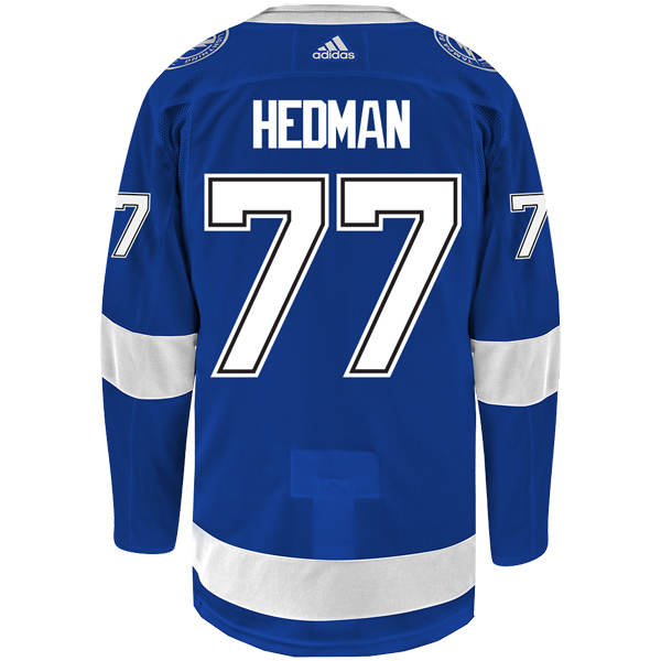 e34de0eda3e  77 VICTOR HEDMAN adidas ADIZERO Lightning Jersey with Authentic Lettering  - Tampa Bay Sports