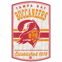 "Tampa Bay Buccaneers WinCraft Classic Retro Logo 11x17"" Wood Sign"
