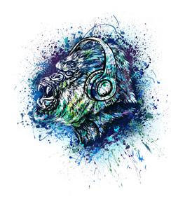 VDD Exclusive Gorilla Warfar - White Blue Splatter Headphones