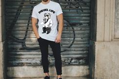 Black & White Suit Diesel Arched Logo T-Shirt