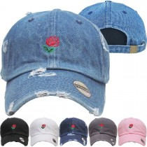 Rose Red Dad Hat Distressed Baseball Cap  Free 1 Location Text