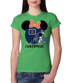 Sports Denver Football Ears Tshirt Mens Boys Baby Infant Bleed Theme Big Tall Plus Sizes Custom Mouse