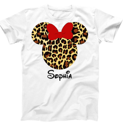 Disney Minnie Mouse Leopard Ladies Tshirt Girls Tshirt Baby Bodysuit