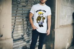 Diesel Life Logo Plaid Shirt Bulldog Mens T-Shirt