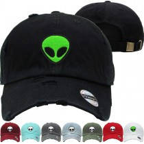 a14fda438 Alien Monster Dad Hat Distressed Baseball Cap Free 1 Location Text