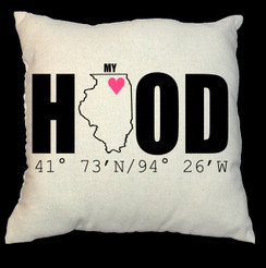 My Hood or My Home Home 20 x 20 Zippered Cotton Pillow