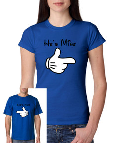 Two Disney Shes Mine-Hes Mine,  His and Hers Personalized Mens Ladies Tshirt (Two Shirts)