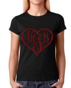 Monogram Heart T-shirt Ladies T-shirt Girls T-shirt