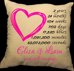 Countdown of our Love Design Heart 20 x 20 Zippered Cotton Pillow