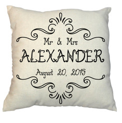 Monogram Name Customized 20 x 20 Zippered Cotton Pillow