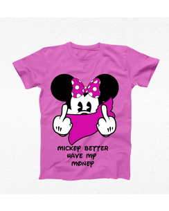 Disney Minnie Mouse Money Ladies Tshirt Girls Tshirt Baby Bodysuit